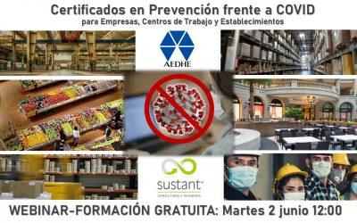 Webinar: Certificados de Prevención frente a COVID para Empresas de todos los sectores y  Establecimientos turísticos