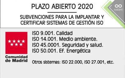 Subvenciones ISO en la Comunidad de Madrid 2020-2023